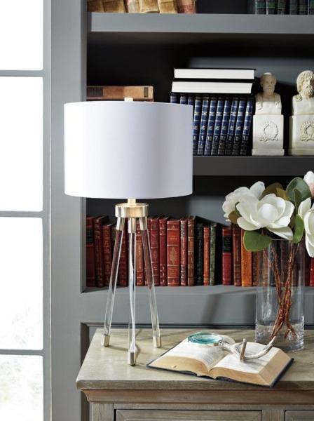 Idalia ClearSilver Finish Acrylic Table Lamp